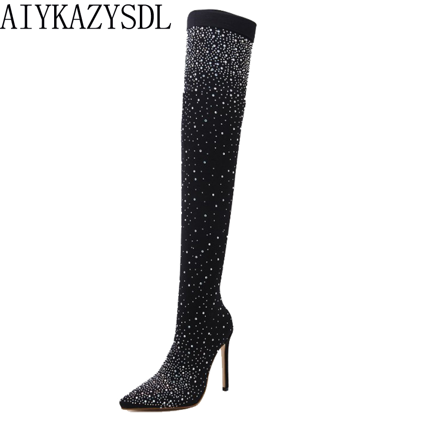 AIYKAZYSDL Spring Autumn Women Over The Knee Thigh High Stretch Boots Pointy Toe Pumps Heels Stiletto Crystal Rhinestone ShoesAIYKAZYSDL Spring Autumn Women Over The Knee Thigh High Stretch Boots Pointy Toe Pumps Heels Stiletto Crystal Rhinestone Shoes