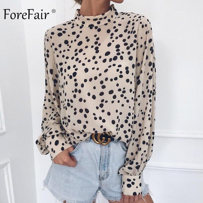 Forefair Women Polka Dots Office Tops Turtleneck Long Sleeve Casual Loose Elegant Chiffon   Blouse     Shirt   Korean Style Winter 2018
