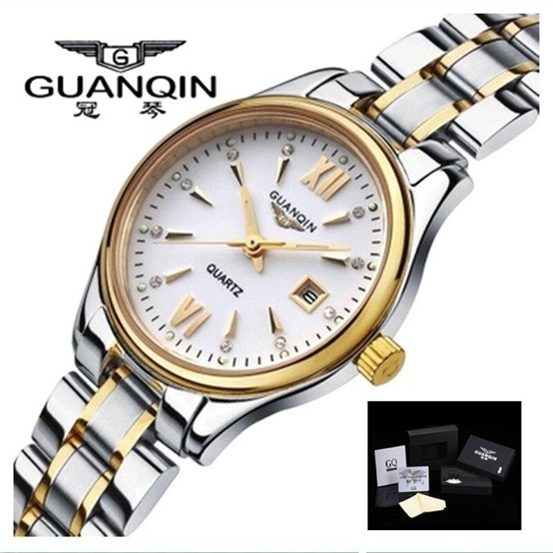 GUANQIN femmes montres de luxe marque dames montres à Quartz or étanche robe femmes montres en acier horloge Montre Femme
