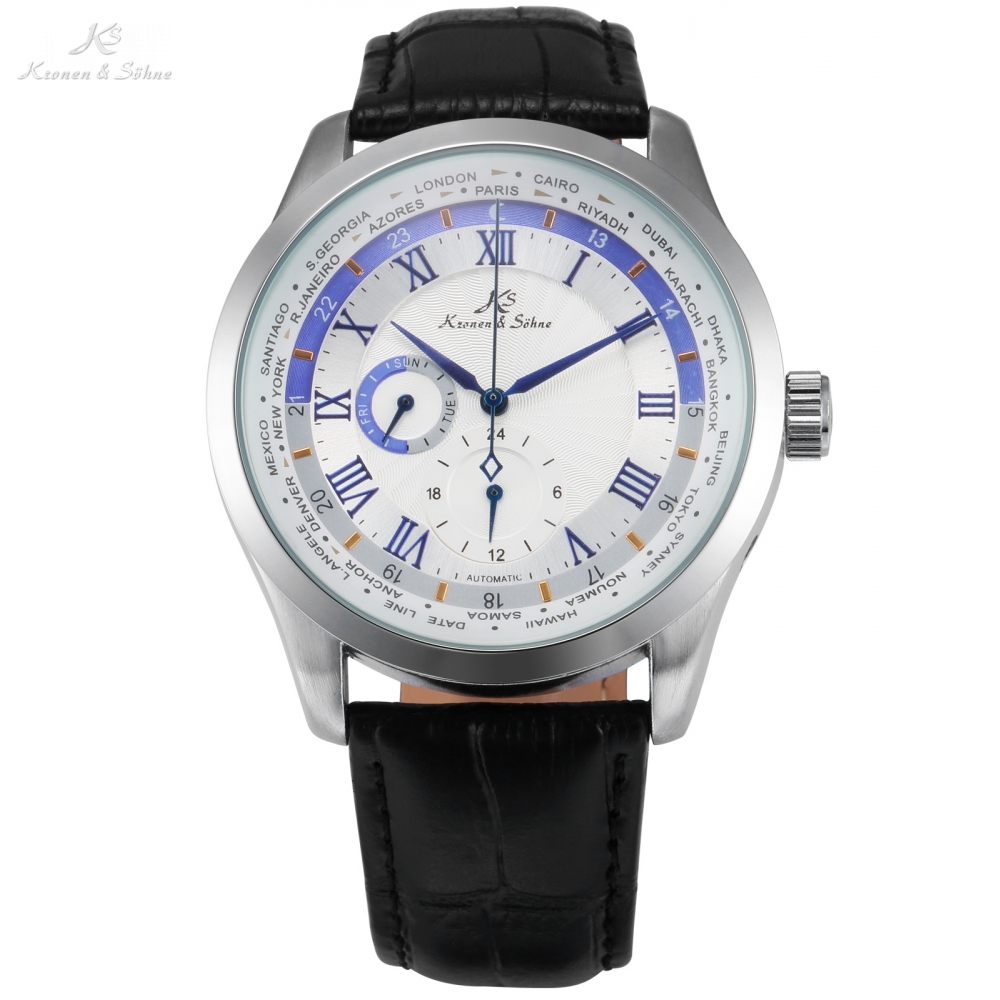 Imperial KS White 24 Hour Roman Self Winding Relogio Black Leather Band Week Day Clock Mechanical