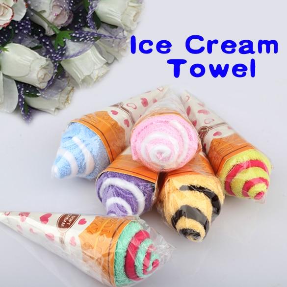 5 יחידות אקראי צבע נייד כפול צבע חמוד רך כביסה מגבת בצורת קרח קרם לטובת מתנה לחתונה המפלגה
