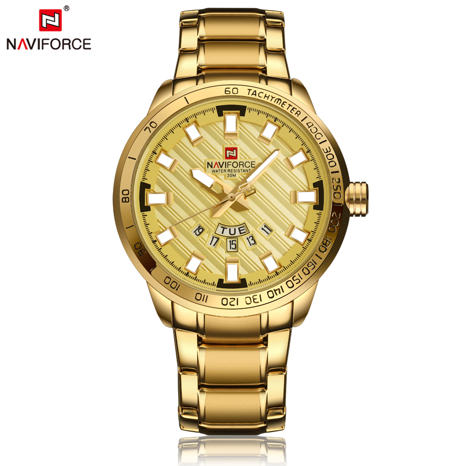 NAVIFORCE Top Brand Luxury Fashion Mens Watches Gold Plating Full Steel Business Quartz Wristwatch Male Sport Relogio Masculino rosra brand men luxury dress gold dial full steel band business watches new fashion male casual wristwatch free shipping