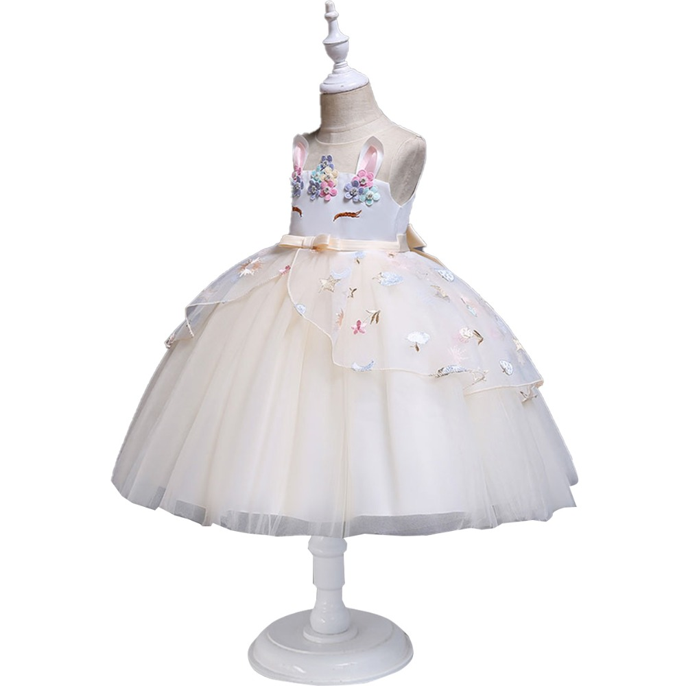 8e6e786be4242 2019 Flower Unicorn Girls Dress Unicorn Princess Party Gown Princess Dress  Tutu Tulle Kids Dresses for Girls Birthday Outfit