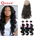 Queen Weave Beauty 360 Lace Frontal Closure With 3 Bundles Body Wave Virgin Human Hair 8A Brazilian Virgin Hair With Closure