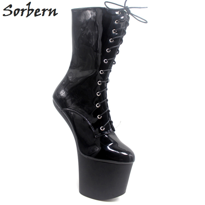 Sorbern 20Cm Hoof Heelless Ankle Boots For Women Halloween Cosplay Shoes Ladies Size 36-47 Extreme High Heels Vamp Cos Shoes saint seiya cosplay shoes boots anime shoes for adult men s halloween cosplay accessories custom made
