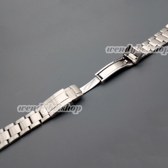 20mm New Hot Sell Man Woman Silver Brushed Solid Stainless Steel Metal Curved End Watch Band Strap Bracelets Deployment Clasp