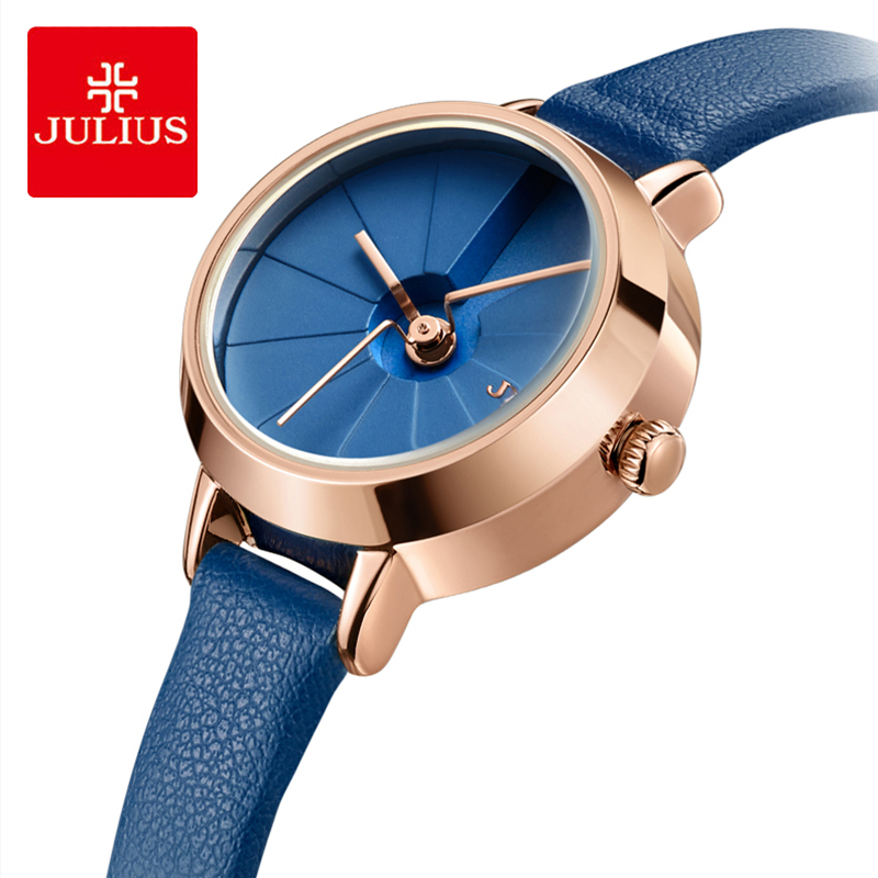 Julius Brand Classic Blue 3D Dial Quartz Watch Woman Fashion Sport Leather Waterproof Dress Wristwatches Female Reloj Mujer Gift
