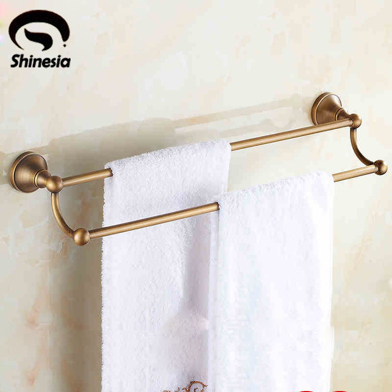 Antique Brass Solid Brass Bathroom Towel Bar Double Bar Towel Holder Rack Wall Mounted aluminum wall mounted square antique brass bath towel rack active bathroom towel holder double towel shelf bathroom accessories