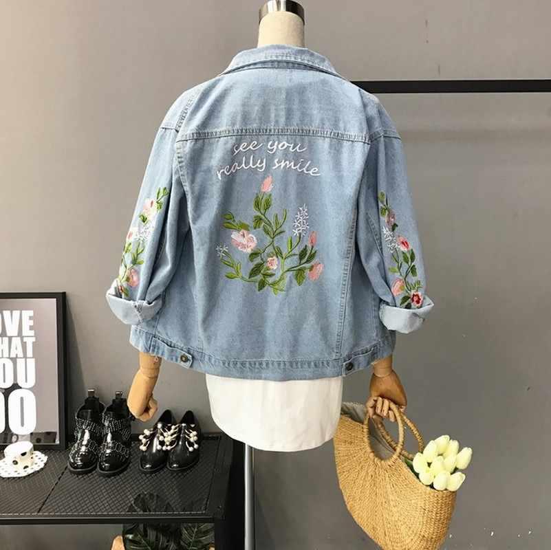 543a8d7e046 Women Denim Jacket Vintage Style 2018 Spring Autumn New Jeans Female Korean  Embroidery Flower Jacket Coat