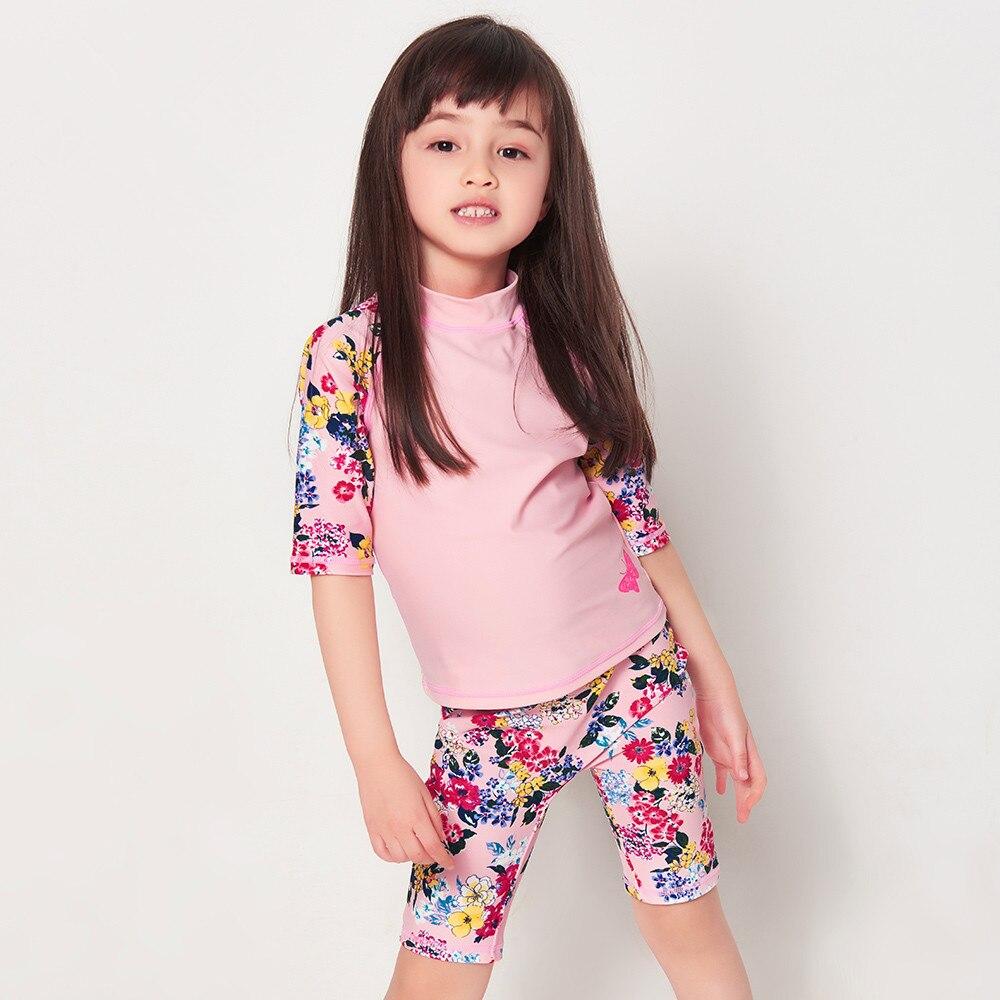 Enfants maillot de bain fille enfants maillot de bain belle fleur rose deux pièces robe filles bébé maillot de bain maillots de bain Surf Wear
