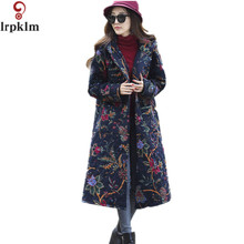 Women Long Winter Parkas Vintage Chinese Size Plus Size Print Red Hooded Warm Thin  Jackets Coats Casual Outerwear M-4XL LZ166