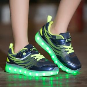 Image 3 - Größe 25 37 Kinder LED Sneaker Jungen Schuhe USB Lade Kinder Schuhe mit Licht up Luminous Mädchen Glowing Turnschuhe schule Schuhe