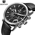 BENYAR Brand Fashion Casual Men Watch New Small Dials Work Waterproof 30 Meters of Men's Sports Chronograph Watch Male Watch
