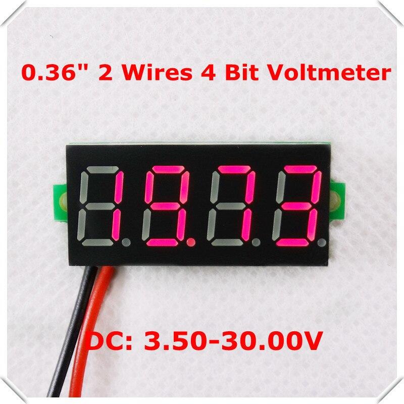 4 Digit 2 wires 0.36 Digital Voltmeter multimeter 3.5-30V Voltage car Panel Meter LED display color 5pieces/lot
