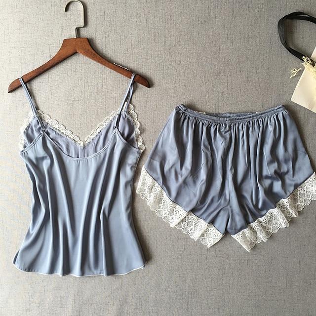 Women's Sleepwear Sexy Satin Pajama Set White Lace V-Neck Pyjamas Sleeveless Cute Cami Top and Shorts 5