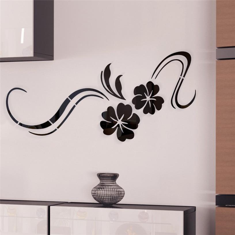 Wall DIY Art Mirror Sticker 3D Modern Mirror Flowers Vinyl ...