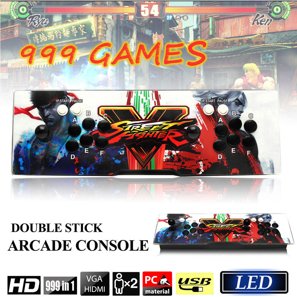 Classic Arcade Game Console 999 In 1 Retro Game Box 5s Support HDMI VGA USB Output Game Machine Fight Games double joystick family arcade games console pandora s box 4s 815 in 1 game board