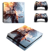 Battlefield 1 Decal Skin For PS4 Slim Console Cover For Playstation 4 PS4 Slim Skin Stickers+ Controll