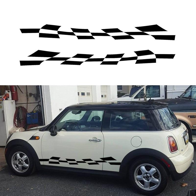 Hotmeini наклейка для автомобилей 2x клетчатый флаг полоса Авто графическая наклейка виниловый комплект аксессуары для кузова грузовика черный