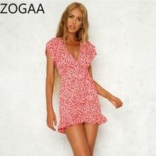 ZOGAA Summer Mini Dress Floral Print Boho Beach Tunic Maxi Women Evening Party Sundress Vestidos de festa XXL