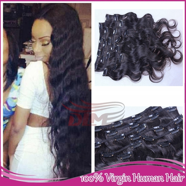 Wholesale 10 30inch Brazilian Body Wavy Human Clip In Brazilian Hair