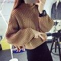 2016 Suéteres Mujeres Otoño Nueva Moda Mujeres Batwing Manga Corta Loose Thick Prendas de punto Color Sólido Suéteres Femeninos SL0899