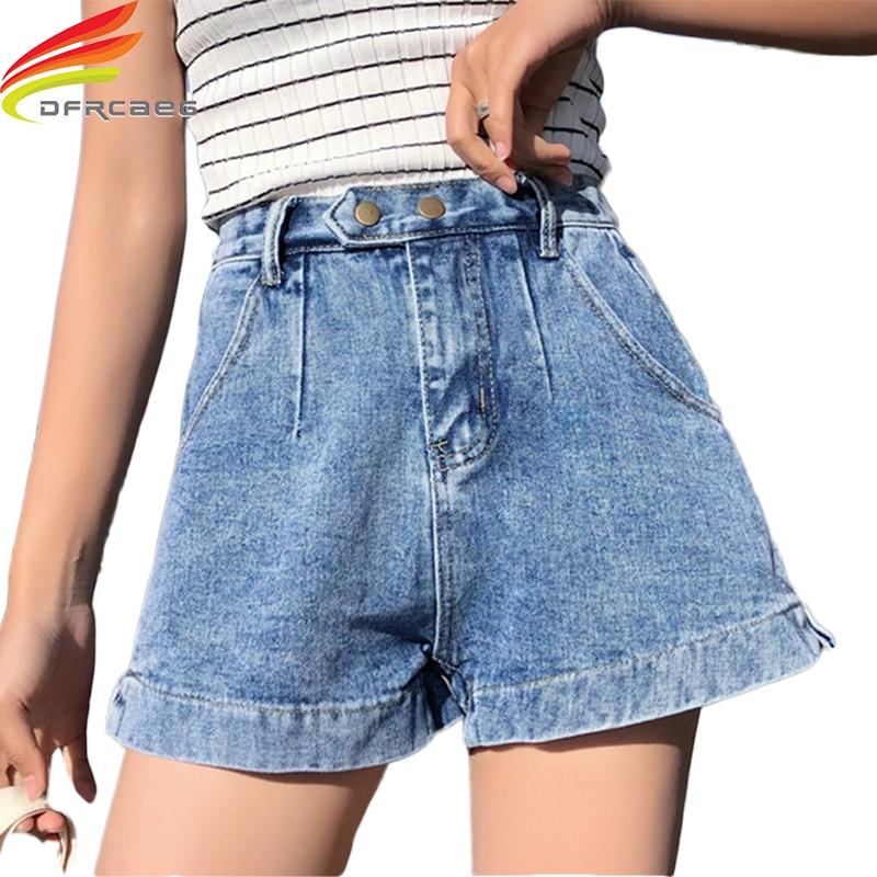 Streetwear Denim Short Shorts Fashion High Waist Short Jeans 2019 Spring Summer New Loose Female Denim Shorts Black Blue