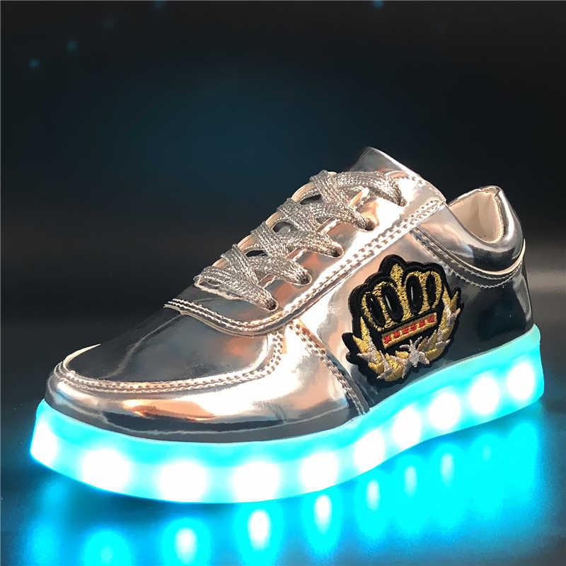 7 ipupas 30-44สติ๊กเกอร์ปักรองเท้าเรืองแสงเด็กชาร์จUSBรองเท้าboys & g irlsเด็กรองเท้าผ้าใบเรืองแสงแฟชั่นledรองเท้า