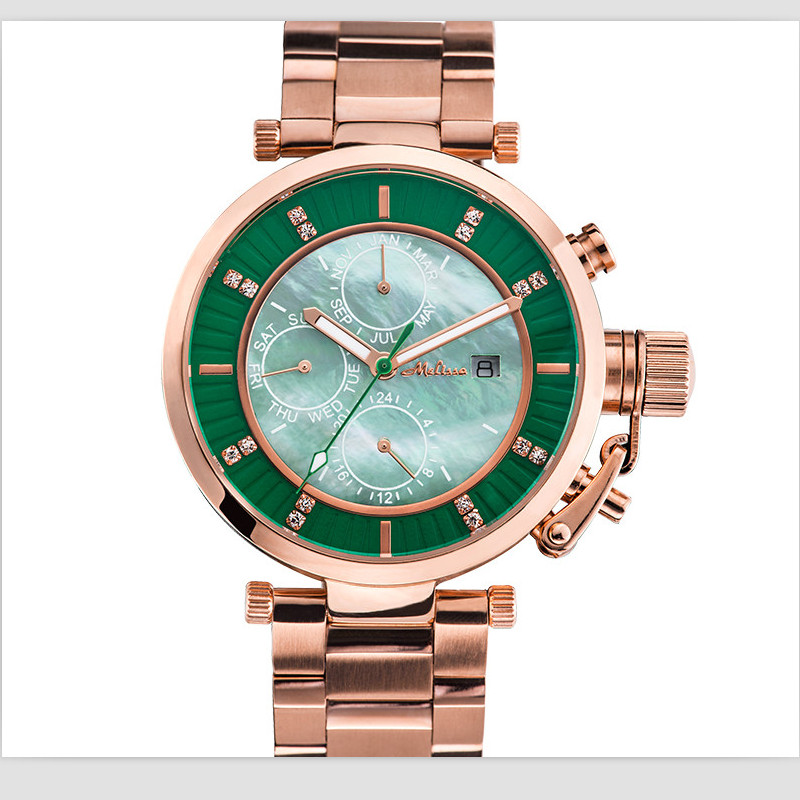 Melissa Cool Neutral Design Women Full Steel Watches Big Size Calendar Wrist watch Japan Quartz Analog Watch Unisex Montre Femme