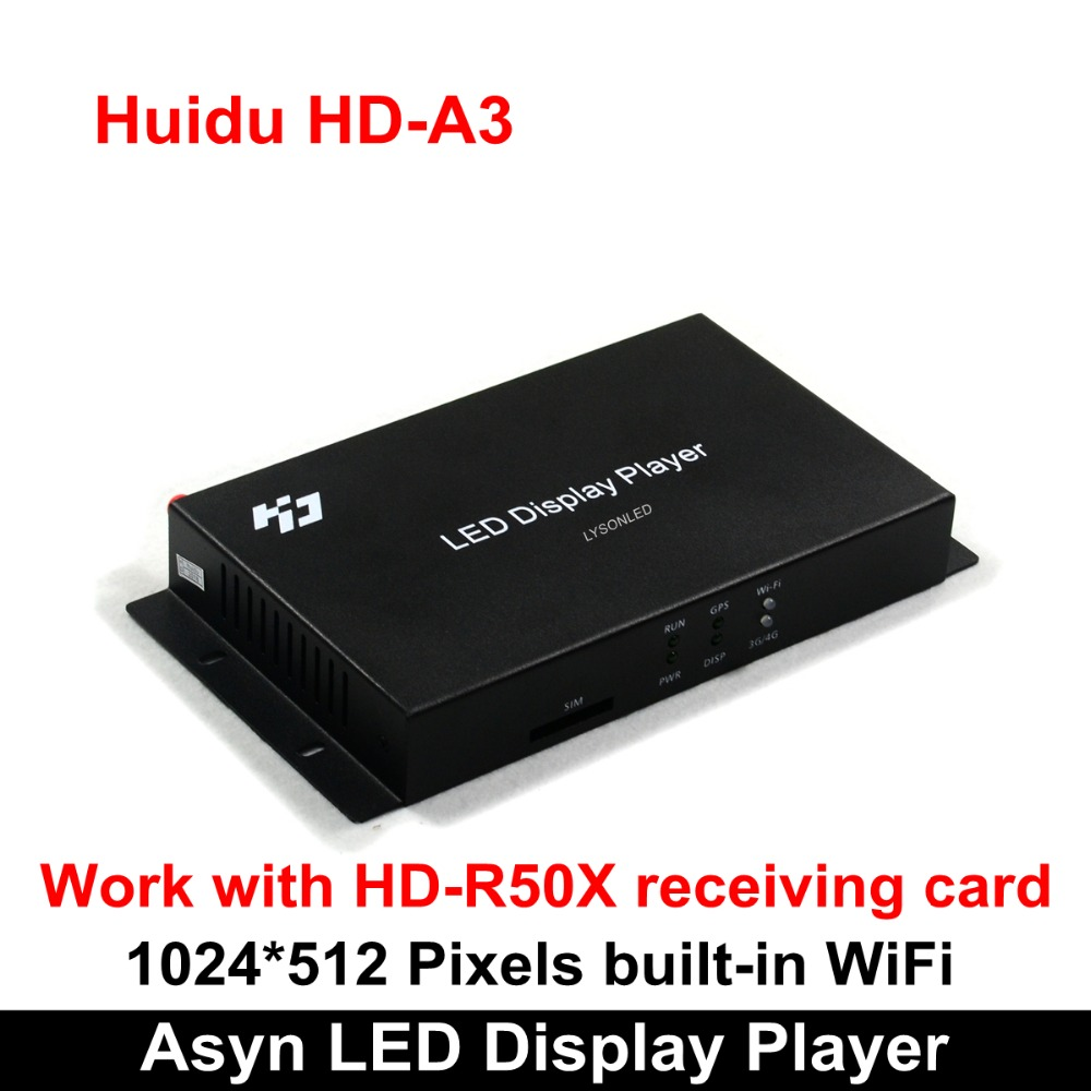Huidu HD-A3 With Built-in WiFi Asynchronization Full Color LED Video Card, Competitive Wireless WiFi RGB LED Controller Card