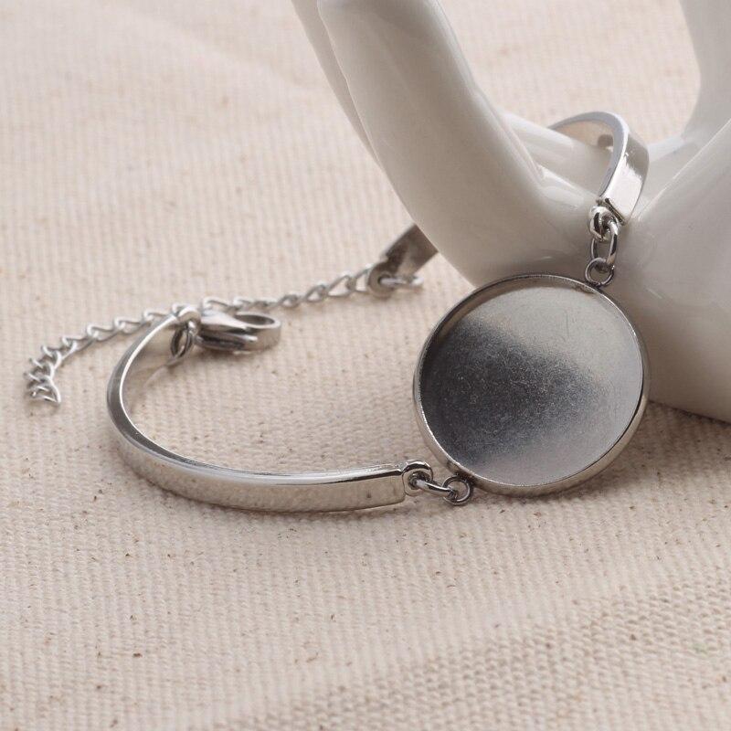10 piezas de acero inoxidable brazalete configuración 20mm redondo en blanco cabochon pulsera base bandejas diy pulseras haciendo Accesorios