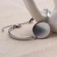 10 Uds. De ajustes de brazalete de acero inoxidable, 20mm, cabujón redondo en blanco, bandejas de base de pulsera, diy, fabricación de pulseras, accesorios