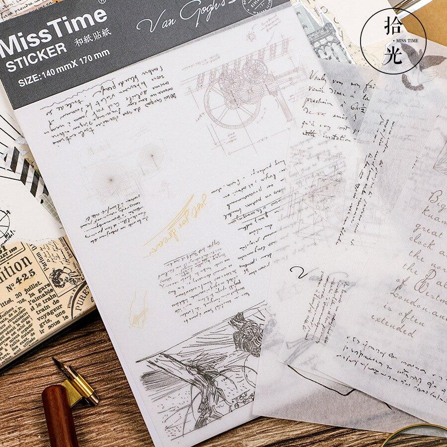 (4 Sheets/lot) Van Gogh Manuscript Decorative Washi Stickers Scrapbooking Stick Label Diary Statione