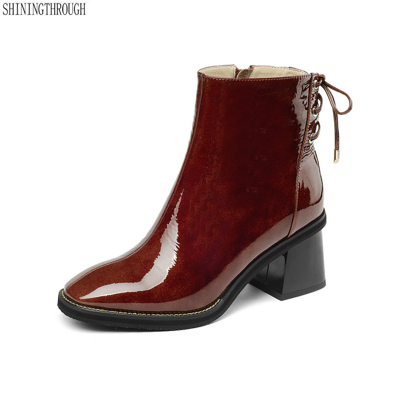 New women genuine leather ankle boots thick high heels black red ladies dress shoes square toe lace up spring autumn boots woman картридж nv print nvp tk 1140 для kyocera mita fs 1035mfp 1035mfp dp 1135mfp 1035mfp l 7200стр
