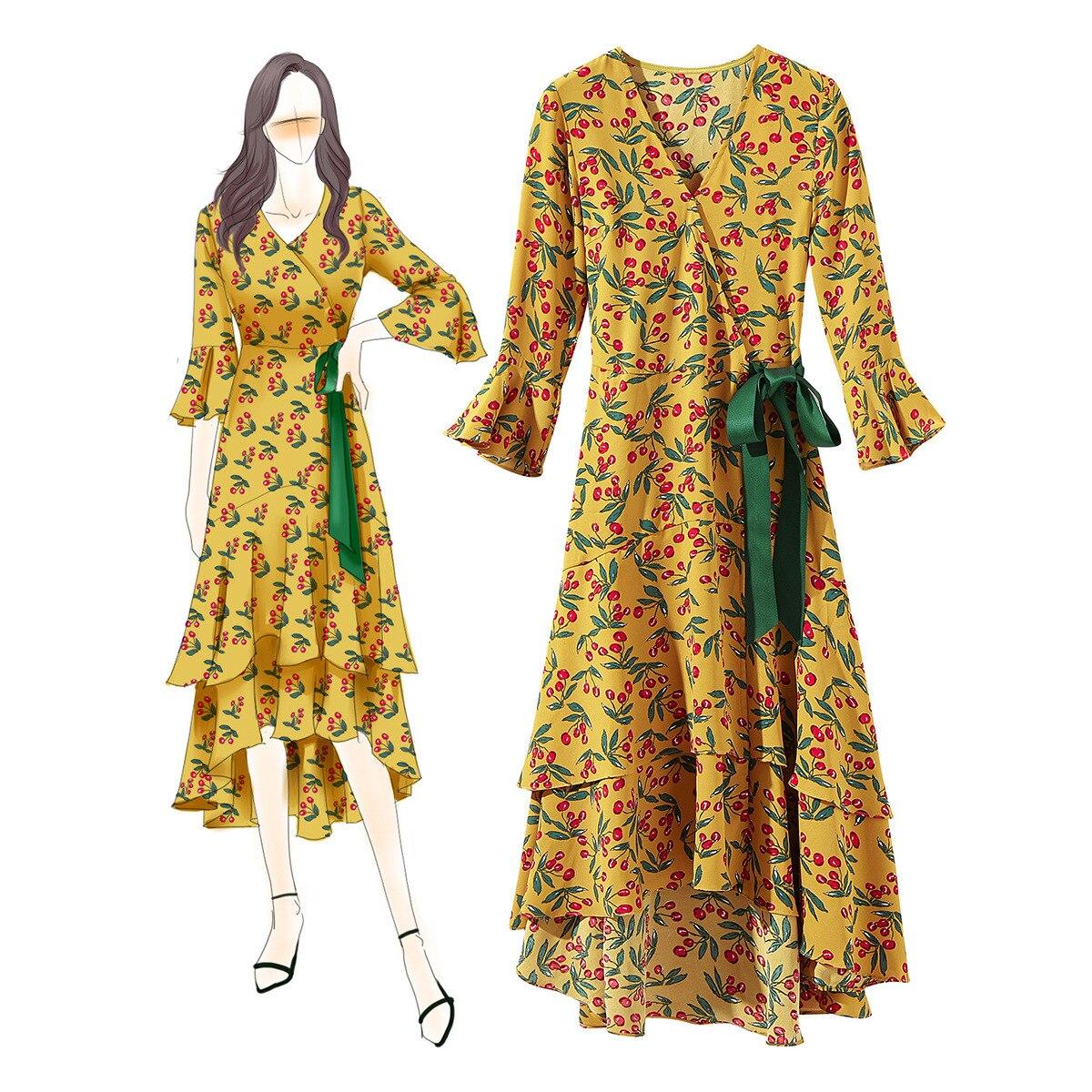Unique Design Boutique Dress for Women Summer New V neck Slant Belt Irregular Lotus Yellow Leaf Side Dress in Dresses from Women 39 s Clothing