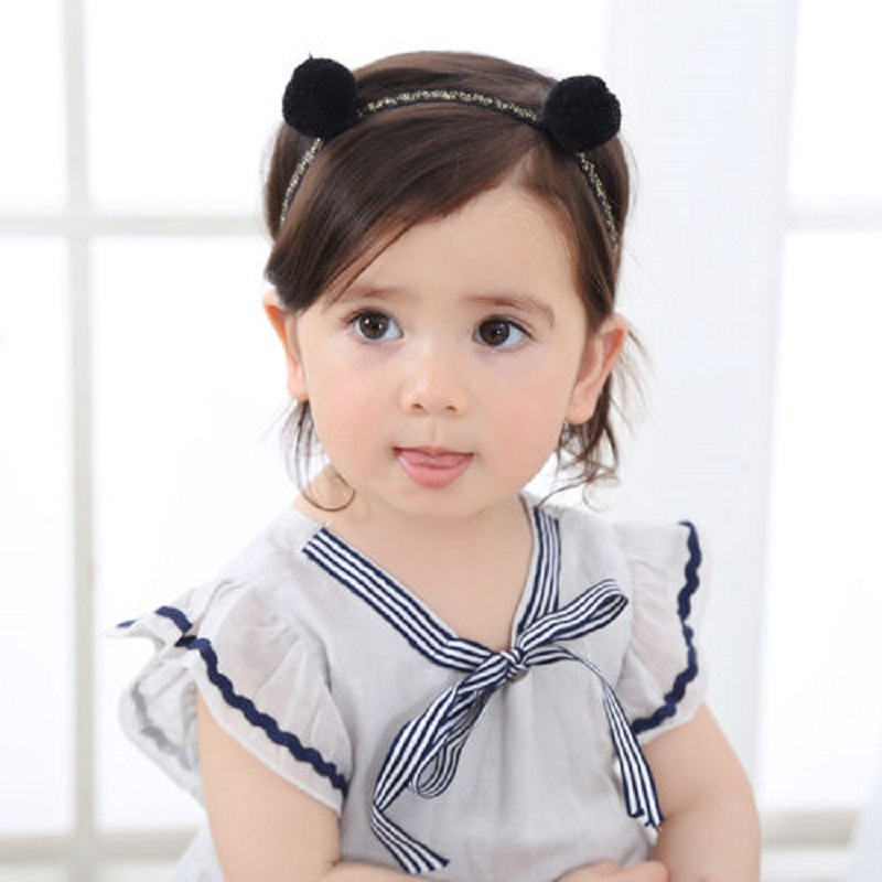 Naturalwell Little Girls Cute soft plush Rabbit ears fur double ball hairband Turban Headband Kids Hair Accessories 1pc HB493 1 pc women fashion elastic stretch plain rabbit bow style hair band headband turban hairband hair accessories