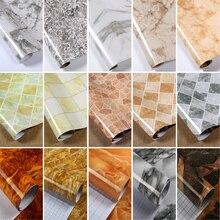 Dikke Marmer Patroon Gerenoveerd Stickers Pvc Zelfklevende Wallpapers Muur Papier Waterdicht Muurstickers Aanrecht Kast