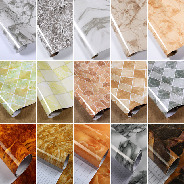 Thick marble pattern refurbished stickers pvc self adhesive wallpapers wall paper waterproof wall stickers countertop cabinet