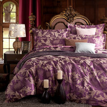 Hot new arrivals bedclothes 4pcs bedding set luxury duvet cover jacquard bedsheet bedlinen sets King/Queen size silk syle(China)
