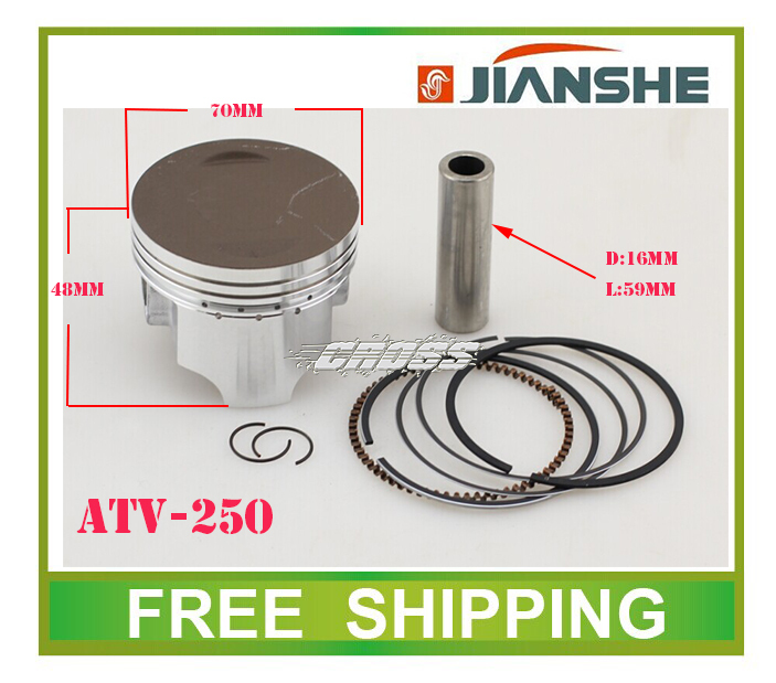 70mm piston ring pin set  fit  JIANSHE loncin 250cc ATV air cooled engine number  JS171FFM  accessories free shipping противотуманки bmw e60