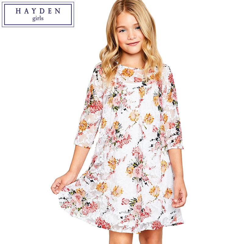 HAYDEN Girls Floral Lace Dress 2018 Spring Summer New Party Dress for Teenager Girl Age 7 to 14 Years Girls Brand Clothes girls dress lace to chiffon blooming flower tied waist 7 14