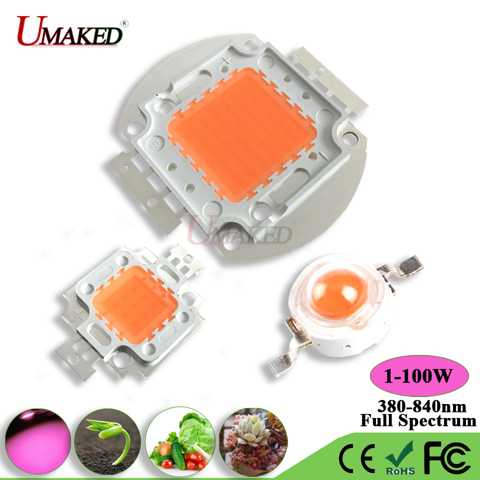 Umaked высокое Мощность светать привело чип 1 Вт 3 Вт 5 Вт 10 Вт 20 Вт 30 Вт 50 вт 100 полный spectrum380-840nm Аквариум/завод лампы smd удара диода