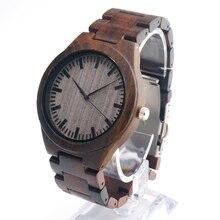 Bobo bird 2017 luksusowa marka mężczyźni zegarki wszystkie czarne drewniane zegarki na rękę z drewnianą zespół drewna zegarki na rękę relogio masculino