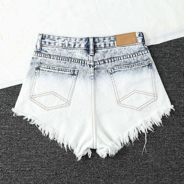 Womens Light Blue Gradient Denim Shorts Trendy Raw Edged Rivets High Waist Jeans Female Wild Fashion Mini Cowboy Shorts New D341 3