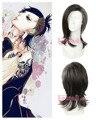 40 cm de cabelo sintético preto Mix cinza tóquio Ghoul Uta peruca Cosplay