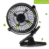 Portable 2 Gear Rocker Switch Mini Desk Fan Clip On Quiet Table Fan USB Powered Cooling