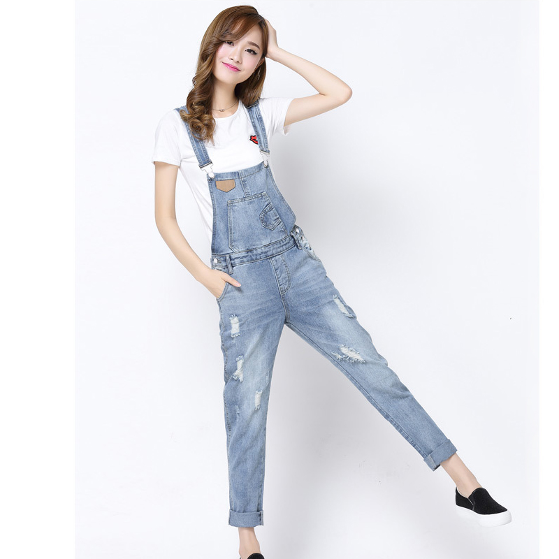 2016 Spring Autumn Casual Ripped Hole Loose Pants Ripped Pockets Jeans Overalls Washed Casual Hole Jumpsuits Romper Jeans Denim denim overalls male suspenders front pockets men s ripped jeans casual hole blue bib jeans boyfriend jeans jumpsuit or04