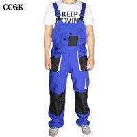 CCGK Bib Overalls Men Blue Work Coveralls Locomotive Repairman Strap Jumpsuit Pants Work Uniform Sleeveless Overalls