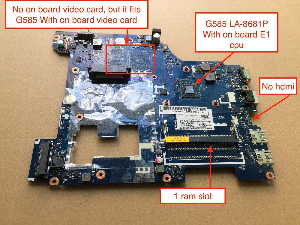 Free Shipping New QAWGE LA-8681P main card For Lenovo G585 Laptop Motherboard with AMD E1 on board cpu free shipping for lenovo ideapad g585 notebook motherboard qawge la 8681p with ati video card one ram slot