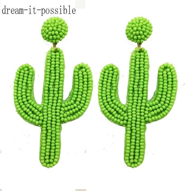 Мечта-это возможно богемные милые модные очаровательные большие длинные ручной работы Зеленые Бусины кактус падение нанизанные бисером серьги для женщин 2019 ювелирные изделия